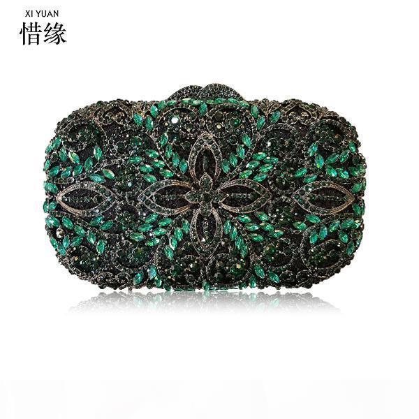 Xiyuan Frauen Gold-Diamant-Abend-Beutel-Metallkristallbrautpartei-Geldbeutel-Kupplungen Ketten Handtaschen Schultertaschen