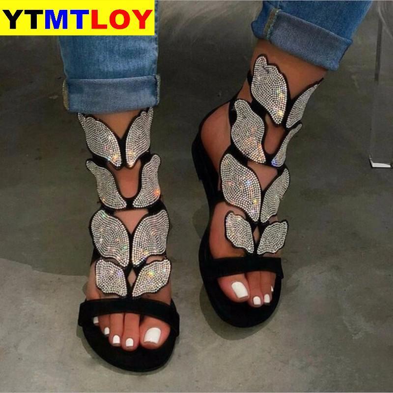 2020 Yapay elmas Yeni Kadın İlkbahar / yaz New Yumuşak kaymaz Kaymaz Sandalet Köpük Sole Dayanıklı Sandalet Bayanlar Açık Plaj