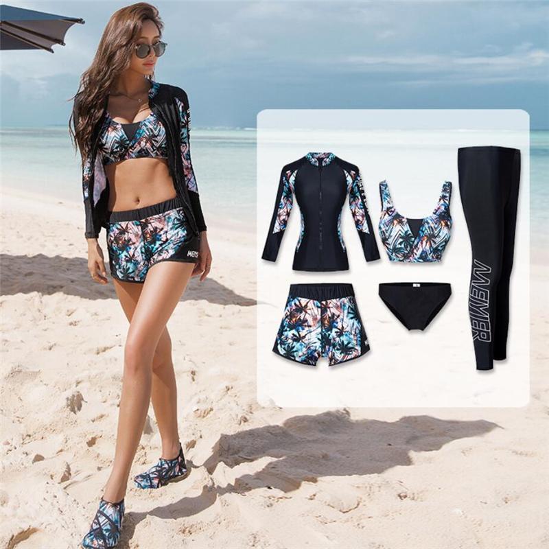bikini + gömlek + pantolon Y200827 mayo fermuar uzun kollu UV rashguard ön sörf kadınlar için 5 adet Kore Style döküntü bekçi mayo