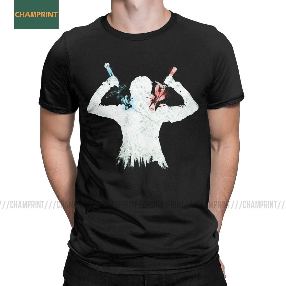 Hommes T-Shirts double Lames épée d'art en ligne impressionnant coton T-shirt à manches courtes Asuna Kirito Manga Anime Yuuki jeu Sao T-shirt