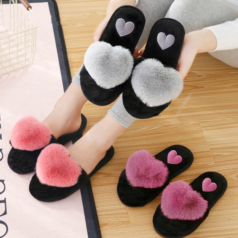 Симпатичные женщины тапочки Love Heart Хлопок тапочки Winter Fur Слайды Ladies Home Furry Теплый Indoor Дом обувь