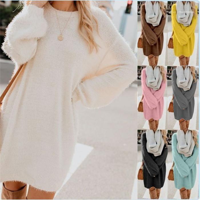 Elbise Uzun Kollu Gevşek Kış Katı Renk Günlük Elbise Dişi Moda Giyim Kadın Mürettebat Boyun Peluş