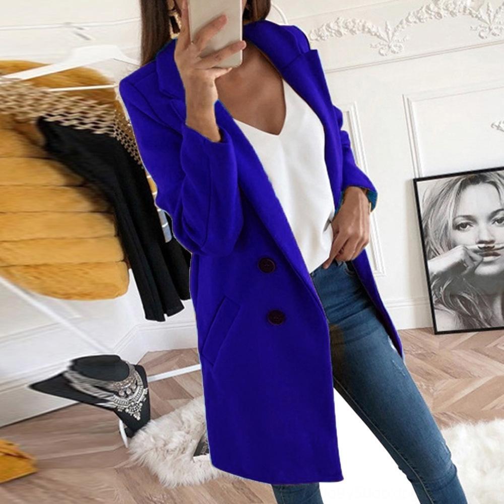 daFyV Revers-Knopf neue feste Farbe RcQvn mittellangen Mantel für Frauen 2020 neue feste Farbe Revers Mitte Länge 2020 wolle wollig Woll Wolle Knopf