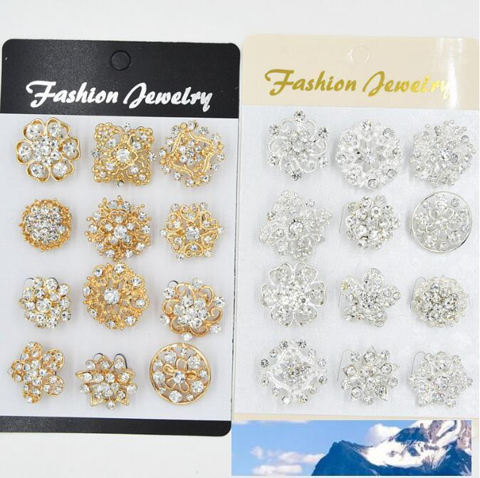 12PCS Mixed Flower Crystal Silver Plated Alloy Brooches High Quality Fashion Wedding Cake Flower Pins Girls Pretty Collar Pins 107