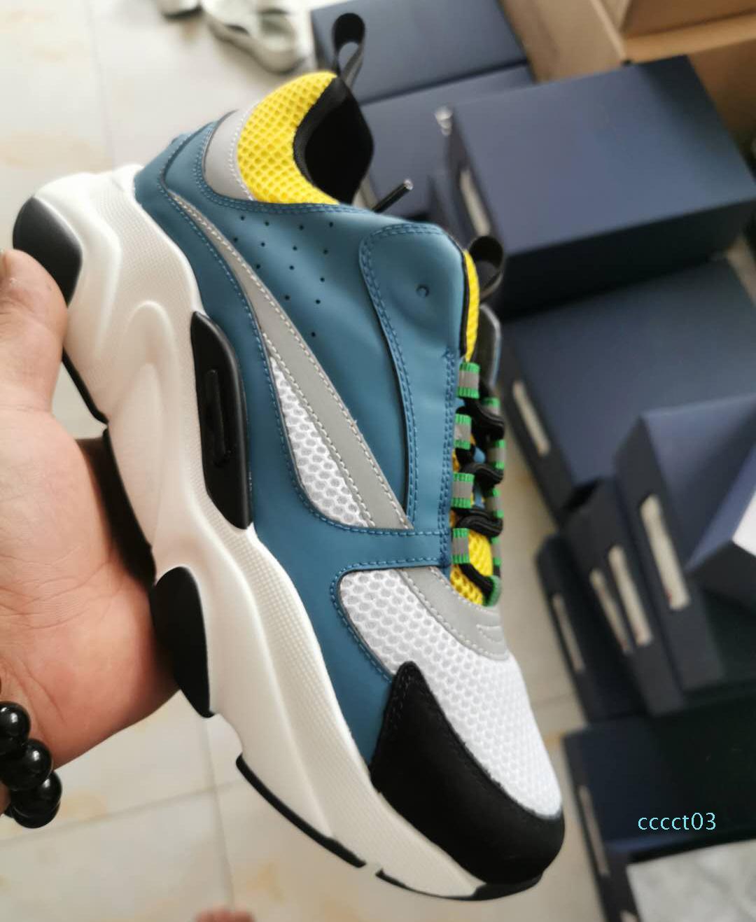 Top Mens B22 baskets en tricot techniques bleu et talon épais VEAU en caoutchouc blanc Plate-forme Chaussures femmes en cuir chaussures de course avec boxct03