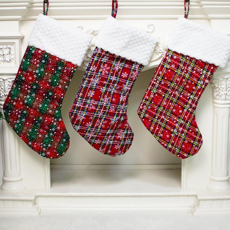 Presente Xmas meias Papai Noel do Natal Sock caçoa o presente Saco dos doces da manta Saco dos doces do Xmas de suspensão decorativa Meias HWB1215