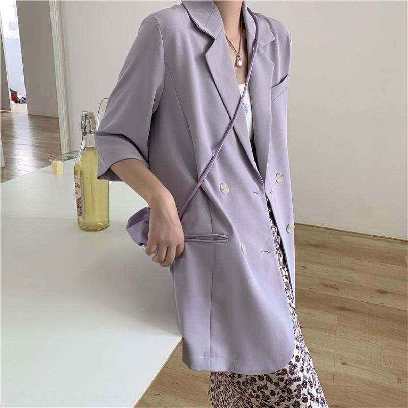 WkCpv Lady Fox Small suit women's summer jacket style thin vertical casual suit short jacket Korean loose mid-length sun-proof sleeve