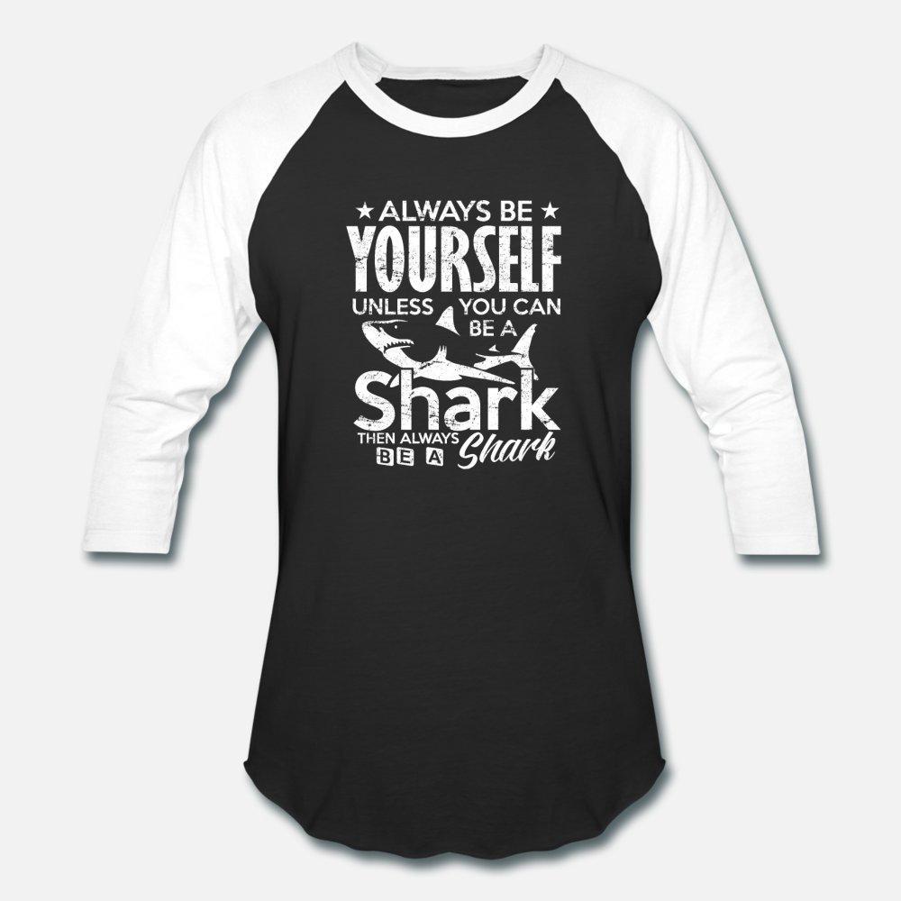 Shark Lover Всегда Be Yourself акула подарок тенниски люди напечатанного 100% хлопка шея одевает Симпатичную дышащей Весна Осени Новизны рубашки