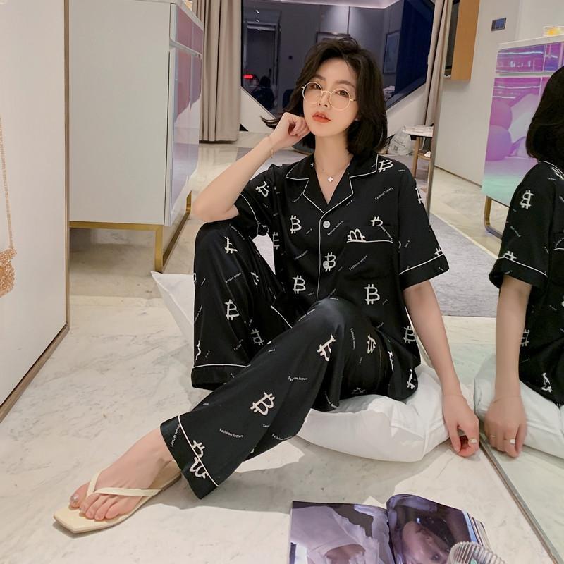 7L9Ek Air пар с коротким рукавом G5v5a кондиционирования пижама пижамы летом мода сатина случайного дома набор льда шелковых брюки кондиционер кло