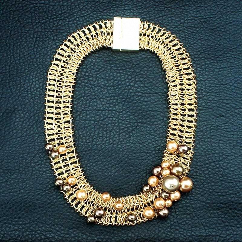 Cadena YESFOLLOW metal grande fornido del collar de la vendimia Gargantilla Collares Declaración de joyería de moda para mujeres con perlas de imitación FjMk #
