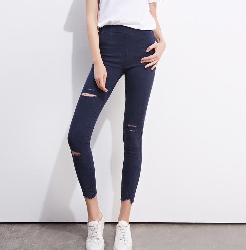 4s66G boyutu Sonbahar Jeans tarzı yırtık kot kadın ayak bileği sıkı Yeni Kalem kalem pantolon artı artı mjzDM bayan pantolonları