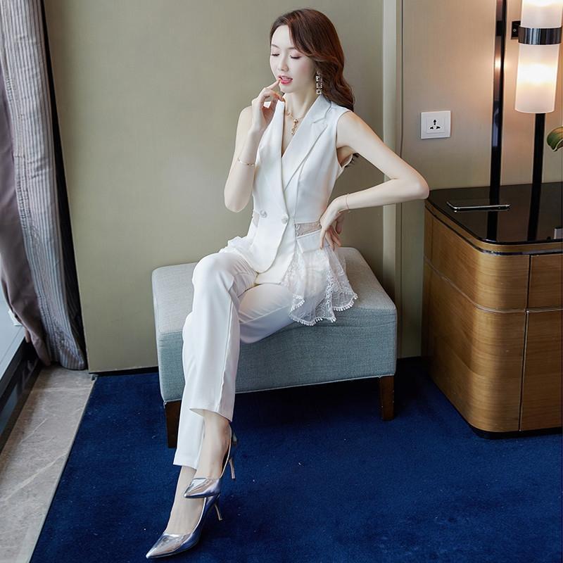 été des femmes Casual 2020 dentelle déesse Fan de deux monopièce âge réduisant style occidental nouveau côté dentelle petit pantalon de costume de ooru5