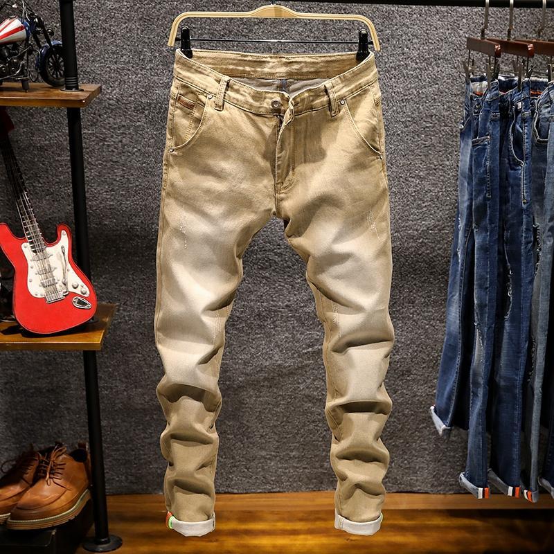 Мужские джинсы 2021 7 Цвет растягивающиеся тощие моды повседневные тонкие джинсовые брюки мужчины хаки зеленый серый плюс размер 38-28