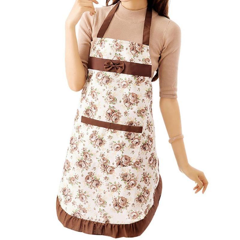 Le donne floreale Bowknot impermeabile cucina del ristorante di cucina senza maniche in cotone Miniabito grembiule di lino Grembiuli casa pulizia Attrezzi