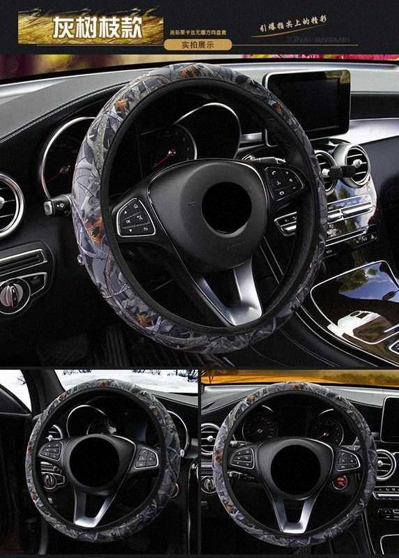 Dirección cubiertas de la rueda universal del coche camión de madera del grano de coches universal 38 cm de dirección Cubo de la rueda cubierta para el SUV Camión de Carga XlAf #