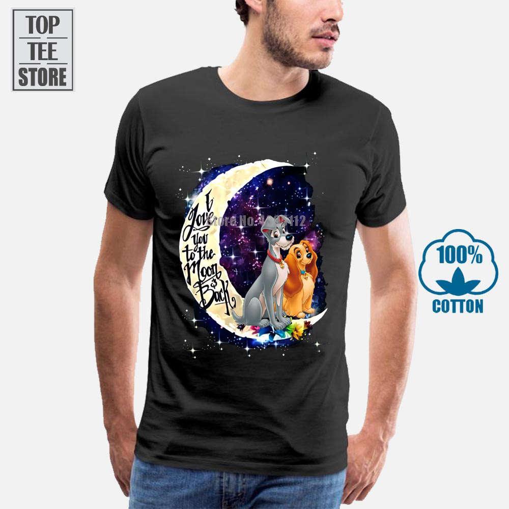 Lady The Tramp I Love You To The Moon Torna maglietta nera del cotone degli uomini S 4XL