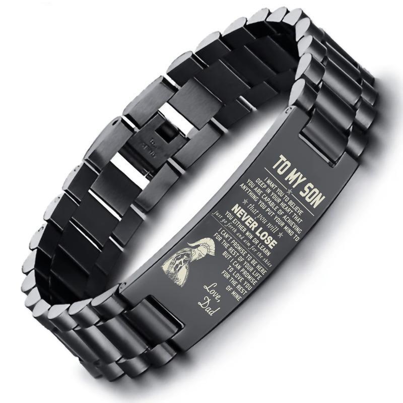 Aço Dropship SPARTAN brazalete ao meu filho inoxidável Homens pulseira em preto com 8,26 polegadas Y200810