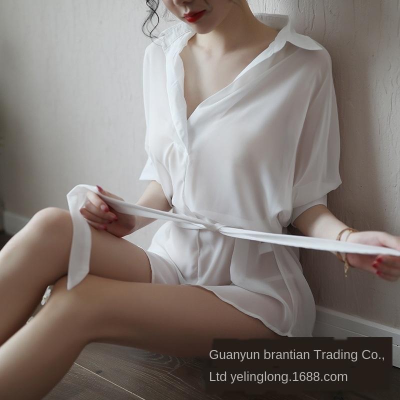 18m6g verlieren Linglong Neue Unterwäsche Pyjamas Chiffon Nachtreizvolle Pyjamas des Sommers der Frauen lange sexy Hemd weiße Unterwäsche der koreanischen Art Hemd