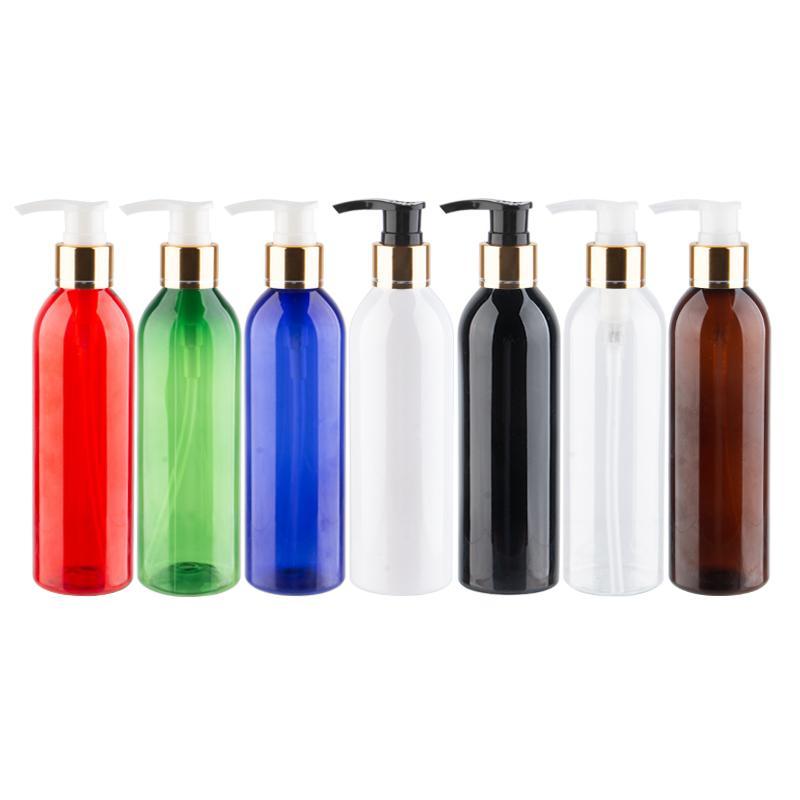 250 мл х 25 Пластиковые бутылки лосьон насос Gold завинчивающейся ПЭТ бутылки Крем для лица Очищающее шампунь гель для душа для снятия макияжа
