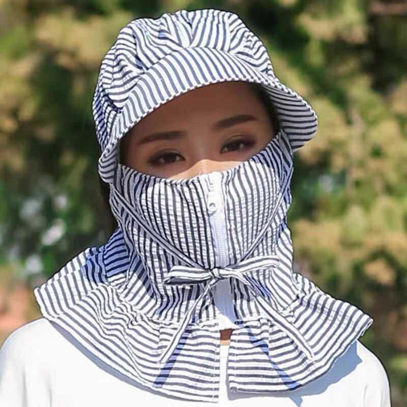 Sombreros para las mujeres de moda de verano a prueba de viento Protegerse del Sol ciclo al aire libre Sombreros de verano de rayas de la cara llena Gorros para las mujeres