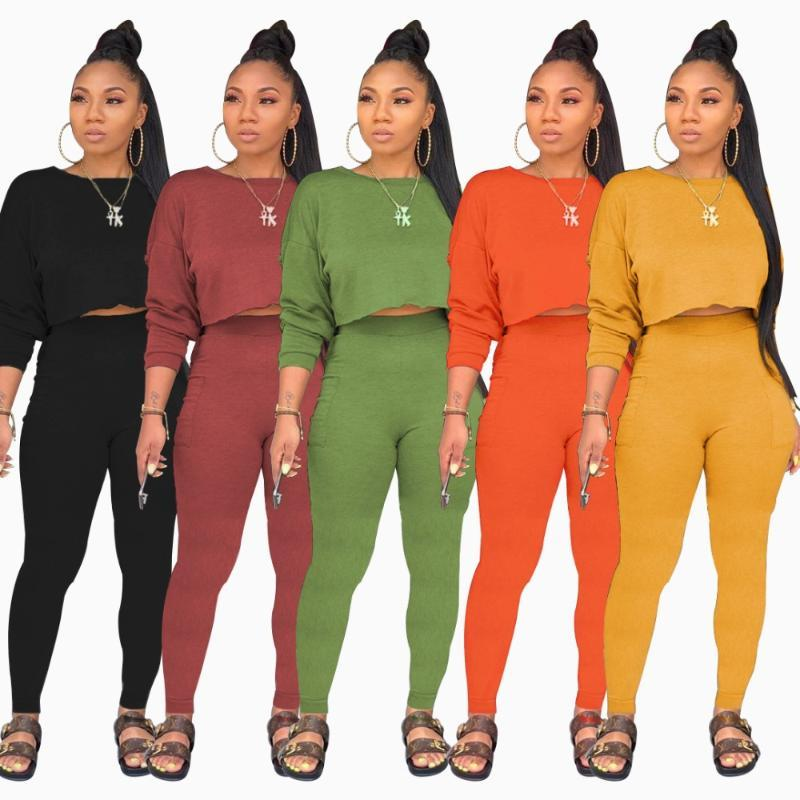 hirigin Pants Mulheres Sólidos Color Set Long Sleeve Moletons lápis terno de dois Casual elegante conjunto desportivo Treino Outfit