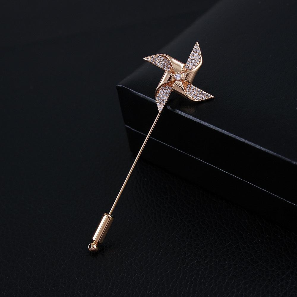 spilla autentico perno di cristallo dell'oro di uomini cristallo mulino a vento intarsiato zircone di alta qualità spilla pin