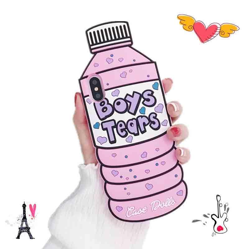 زجاجة المياه المعدنية الإبداعية شخصية مناسبة للسيليكون الأكمام iPhone11 حالة الهاتف المحمول XR الوردي الكرتون ثلاثي الأبعاد