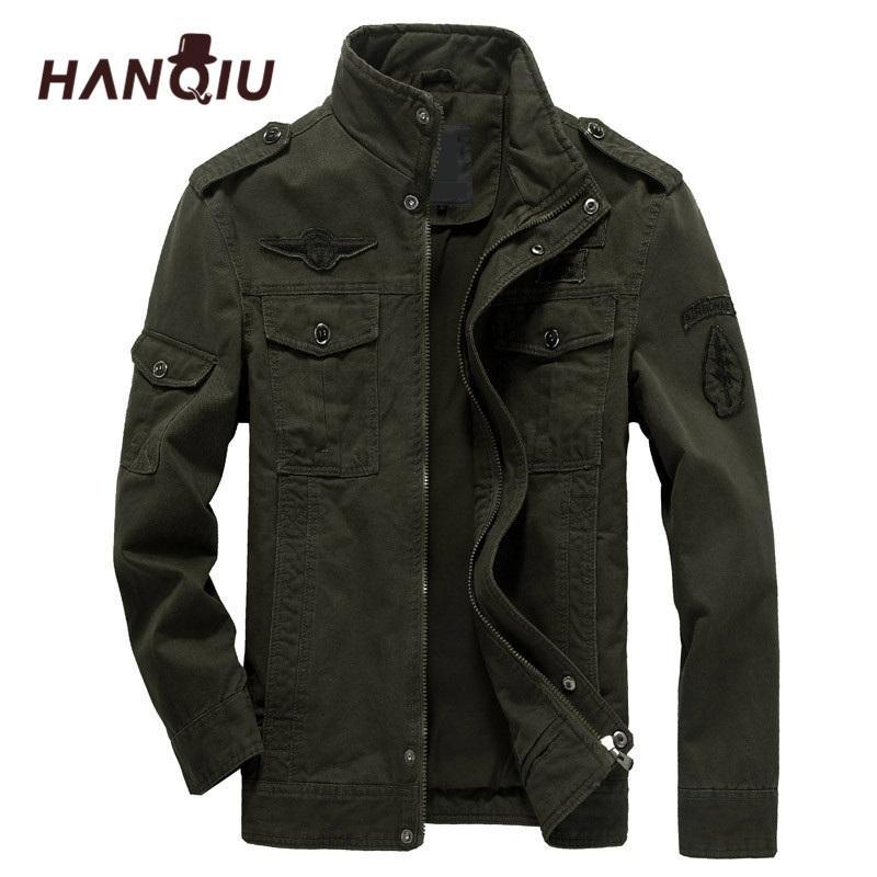 HANQIU Marca M-6XL la chaqueta de bombardero Hombres Ropa Militar Escudo Sólido chaqueta suelta Ejército Militar 2020 del otoño del resorte masculino