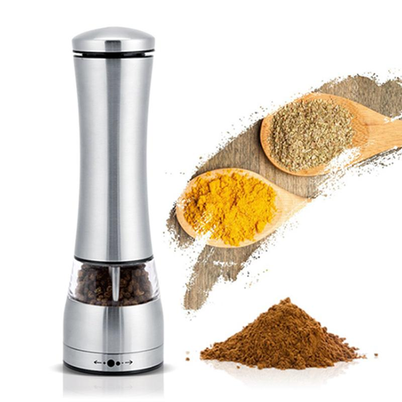Electric Pepper Grinder Mill Stainless Steel Salt Pepper Grinder Kitchen Dining Bar Family Hotel Barbecue Tools Sea Shipping IIA503