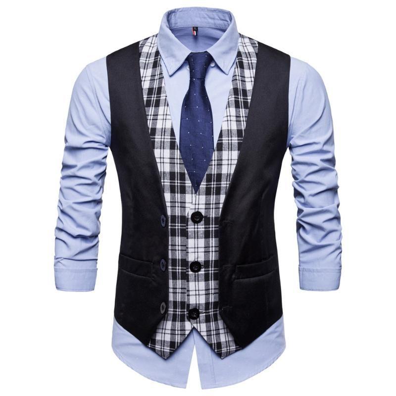 SWAGWHAT Mens Пледа лоскутной Blazer жилетов однобортного V-образный вырез мода Мужской Англия Повседневной стиль Жилеты Мужчины костюм Жилет