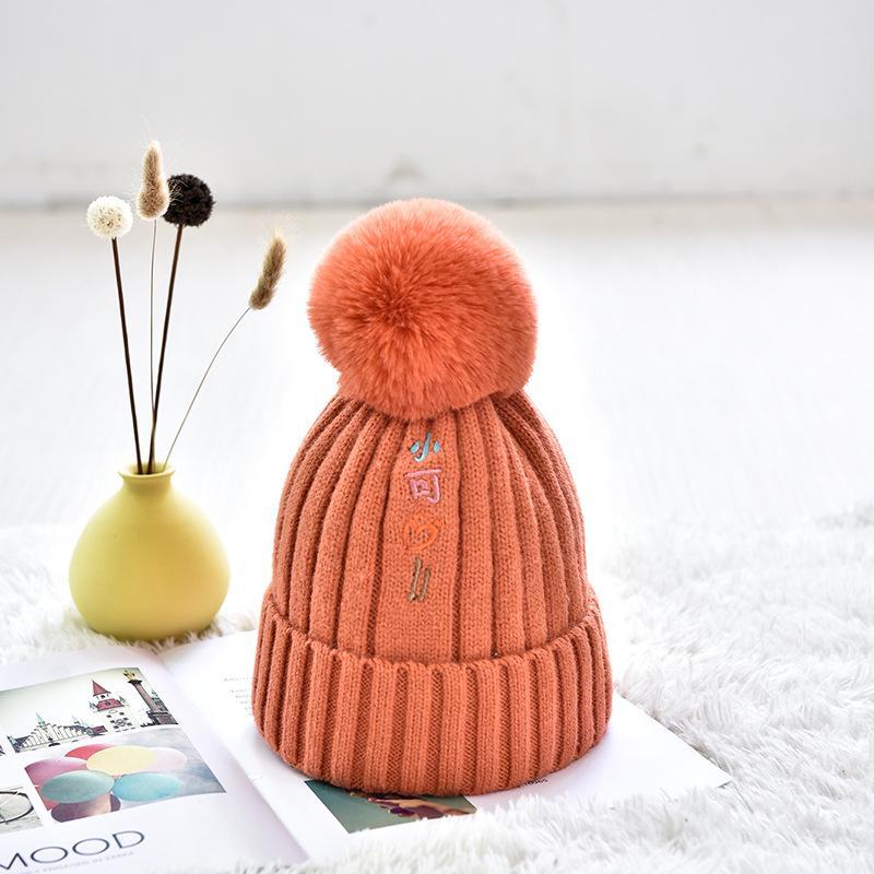 Mutter und Kinder Hüte Wolle gestrickte Pom Pom Cap Frauen Kind-Winter-warmer-Pelz-Pompom Caps Eltern Jungen Mädchen Skullies Beani