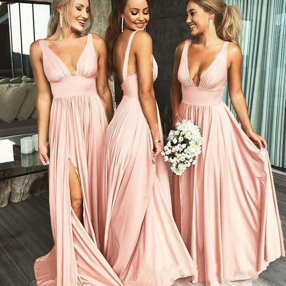 Sexy Plunging Neckline Long Bridesmaid Dresses Split Silk Evening Prom Dress Wedding Guest Party Gowns Maid Of Honor Dresses Cus