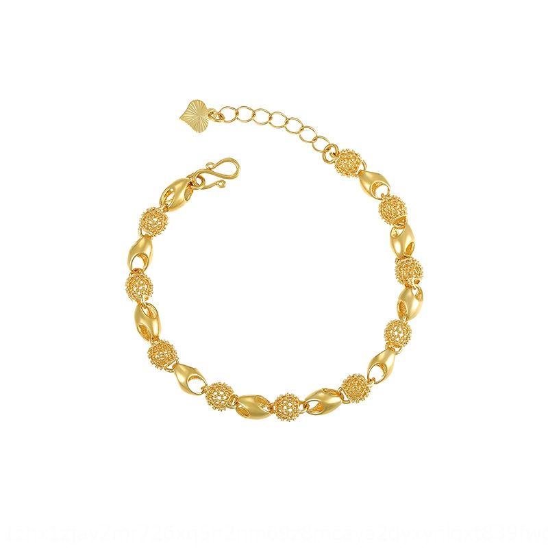 contas Xuping jóias brincos ocos-out requintados contas de ouro de Buda pulseira banhado 24k bracelete de ouro A00327503 feminino UbxTp
