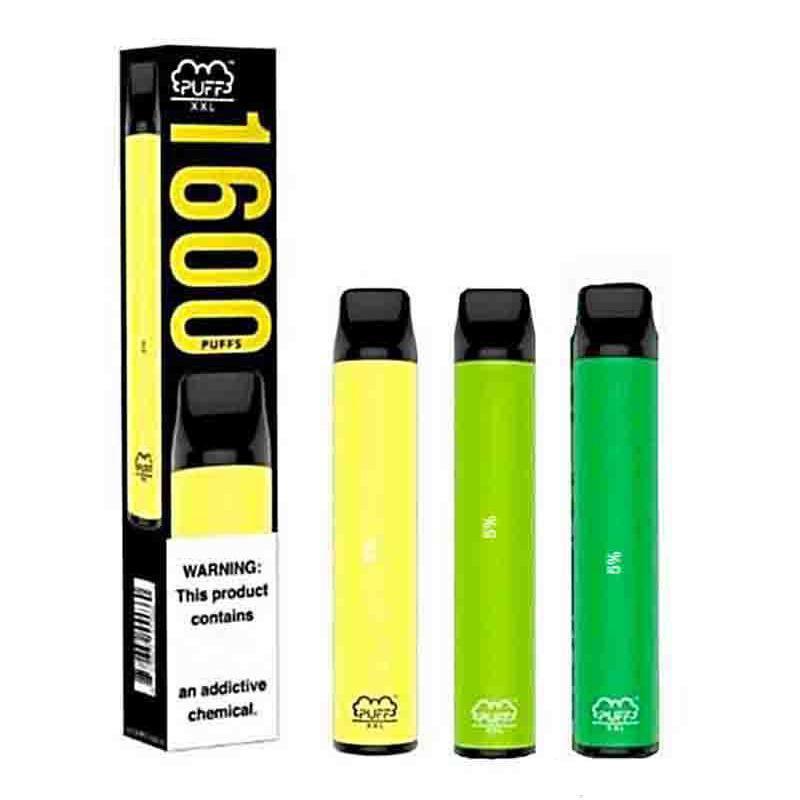 소매 하이 엔드 PUFF XXL Vape 펜 1600+ 퍼프 일회용 Vape 스타터 키트 퍼프 10 개 색상이 담배를 전자 오일 흡연 탱크 4 ㎖ 사전 충전 바