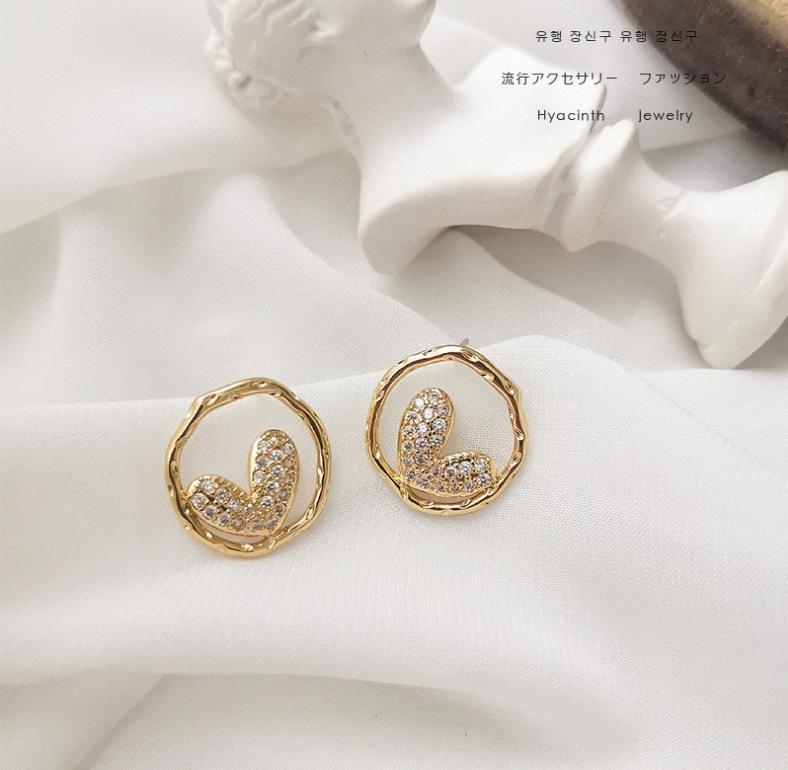 202 Corée du Sud-Est Porte 925 ronde irrégulière aiguille d'argent et amour boucles simples boucles d'oreilles en forme de coeur lightKorean pour les femmes