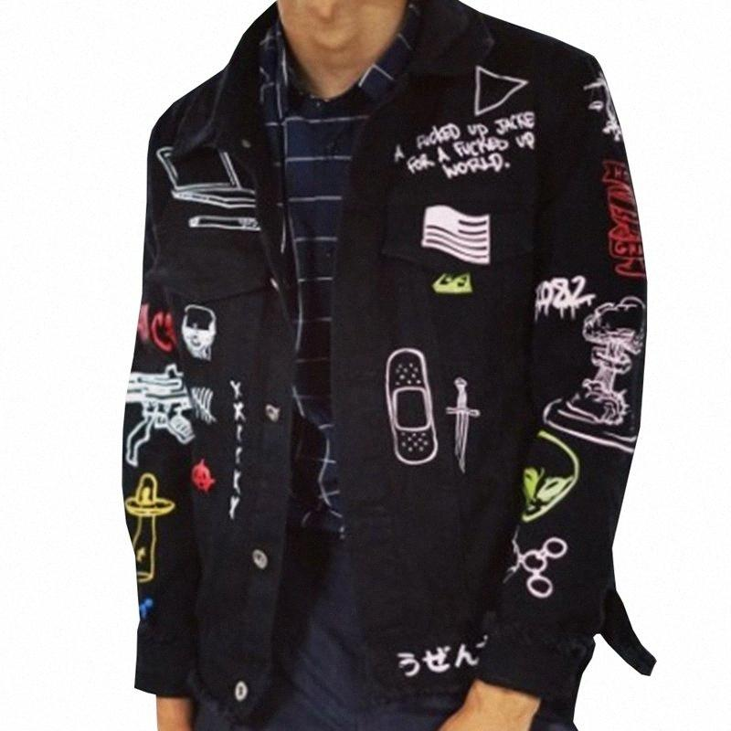 Mens Giacca di jeans maniche lunghe uomo di Hip Hop dei graffiti Stampato tasca Camicie Casual Moda Streetwear Asiatica Misura M 2XL Mens Jackets Chea tYk6 #