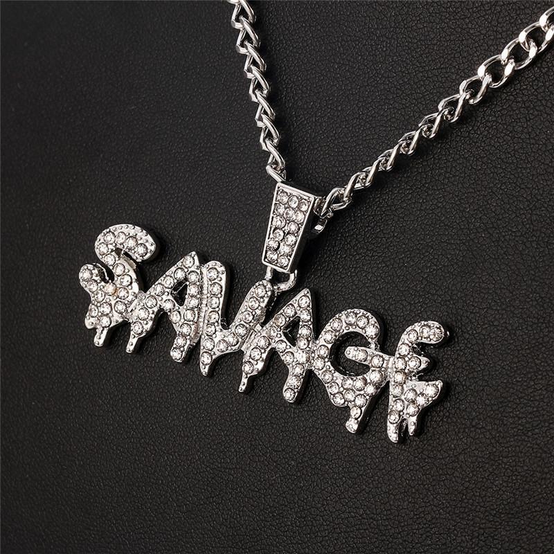2021 Ожерелье для Bling Мужская Подвеска Мода Письмо Цепи Скаварки Блестящие Ссылки Ожерелье Choker Hip Hop Ювелирные Изделия Bling Men Shqfd