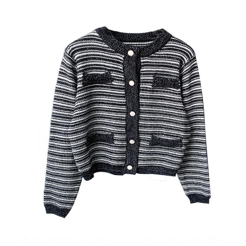 Fanyi vêtements 2020 vêtements automne petit parfum lumineux soie ligne mixte minceur tout match à court tricotée mode manteau co féminin cardigan