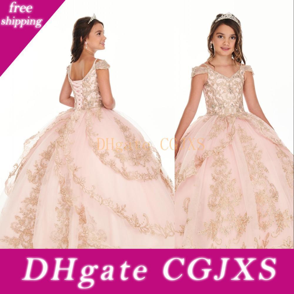 2020 Sıcak Balo Kızlar Yarışması Elbise V Yaka Allık Pembe Altın Dantel Aplikler Kristal Boncuk Çocuk Parti Doğum Abiye Çiçek Kız Elbise