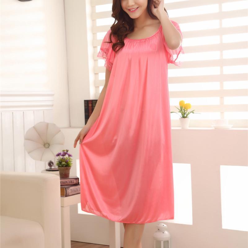 2020 mujeres atractivas del verano Hogar de seda del cordón del hielo largo camisón niñas suelta más el gran tamaño de la falda de la ropa de noche vestido de noche camisón