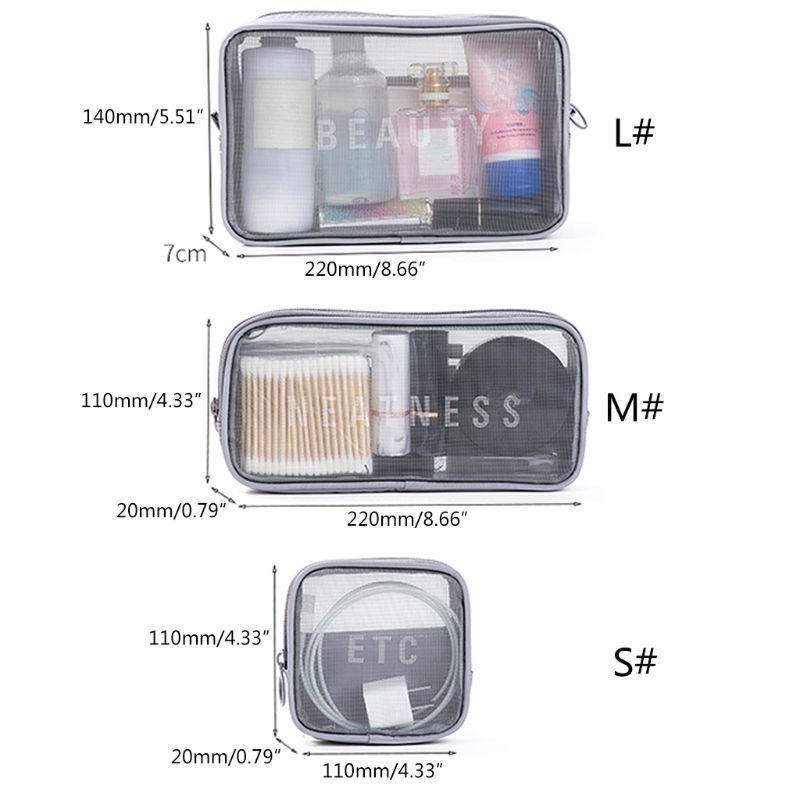 Black Mesh Cosmetic Bag WoMan Schönheit Make-up Körperpflege Organizer für Heimreise