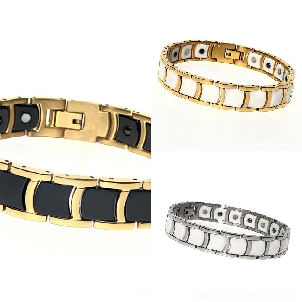 Caliente con par de titanio de estilo brazalete de cerámica de oro electrolítico magnética pulsera de acero de Venta de cerámica AZ1Xo
