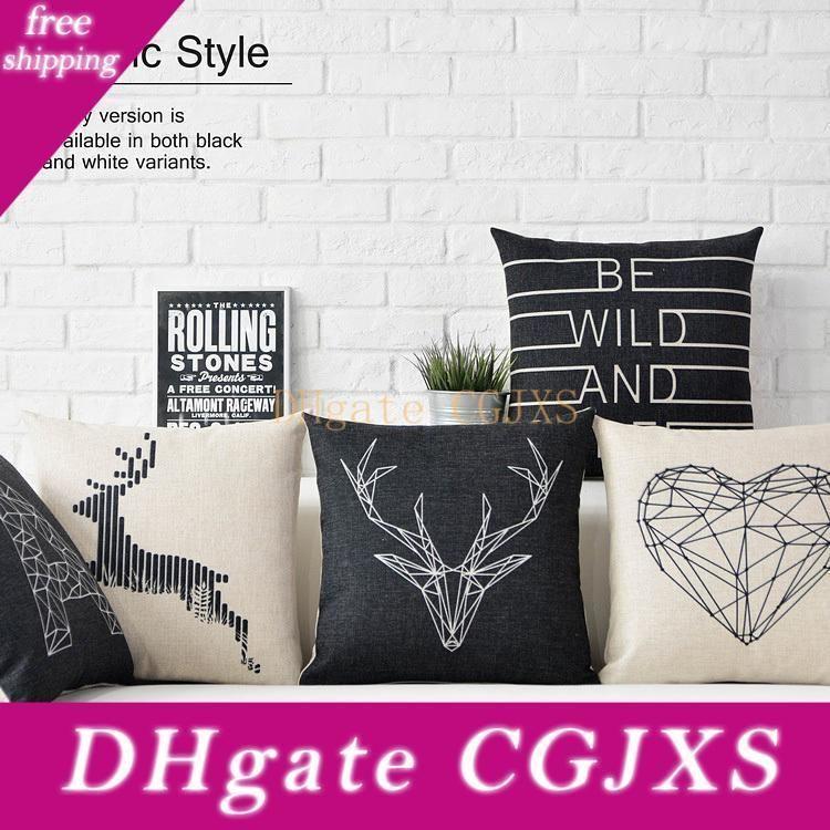Nero Bianco Cervo Cuscino nordico geometrico dell'ammortizzatore del cuscino in lino federa divano cuscini casa Cuscini decorativi
