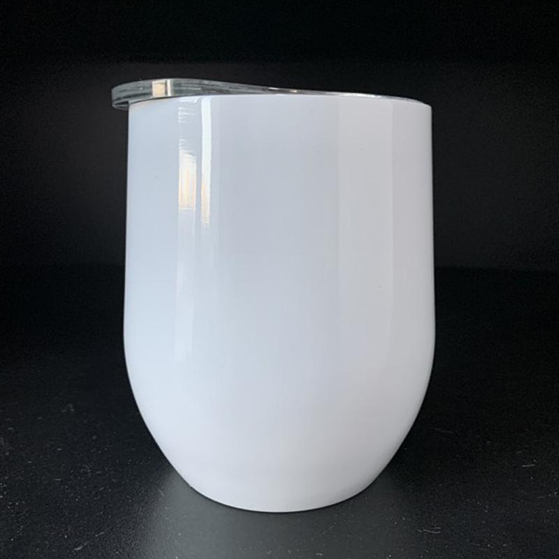 Cara de vino 12oz Sublimación Forma de huevo de doble pared a prueba de fugas a prueba de frascos aislados de vacío TERMOS TAMBLANDO CON LA TAPA EJIHV
