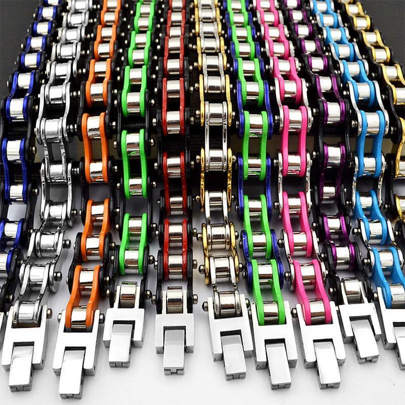 Homens Moda motociclista pulseira do punk Multicolor aço inoxidável 316L Jóias pulseiras motocicleta pulseiras largura 10 milímetros dropshipping Y200810