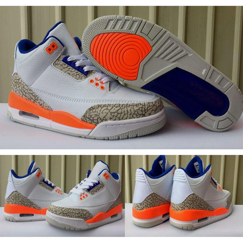 Spor Sneakers ile Box açık Yeni Sürüm 3 Knicks Beyaz Turuncu Mavi 3s Erkekler Basketbol Ayakkabı 136064-148