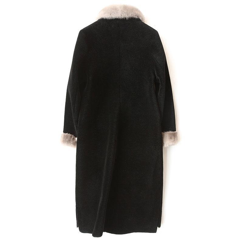 la moda de lana gruesos calientes capa de las mujeres de primavera y otoño de visón collar cuadrado de las chaquetas de lana de invierno casaco feminino LX1925