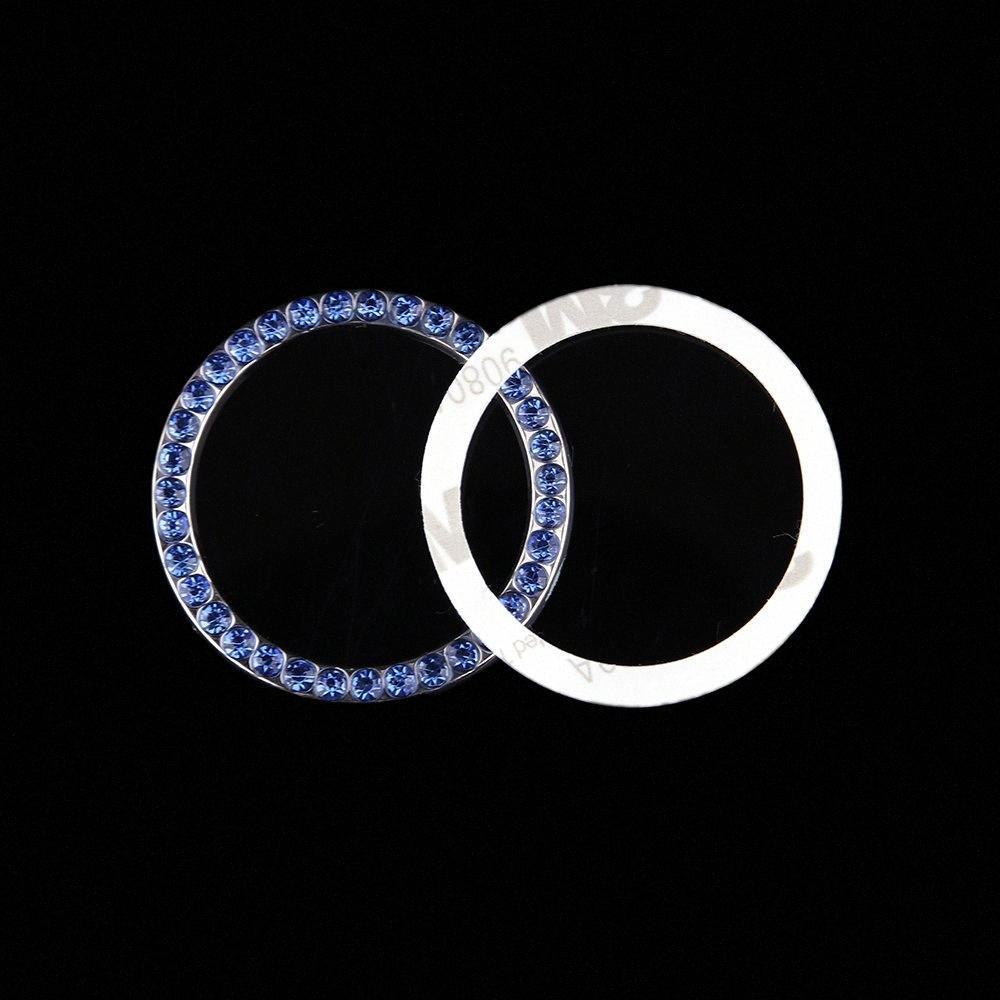 1 Adet Moda SUV Bling Pratik Araç Dekoratif Mavi Düğme Başlangıç Anahtarı Elmas Yüzük Oto Aksesuarları DUO3 #