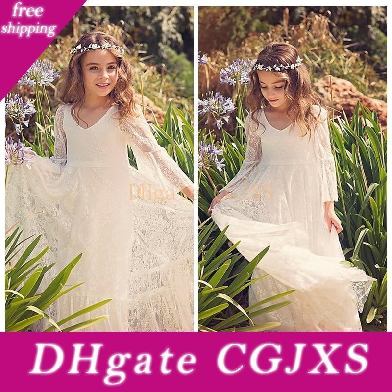 2018 Cheap Sale personnalisés dentelle robes fille fleur blanche Ivoire Boho robe de première communion pour petite fille V -Neck Tenue de soirée d'anniversaire d'enfants