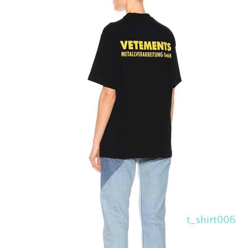 18SS jaune imprimé T Vetements Vintage Couleur unie manches courtes Hommes Femmes d'été Hip Hop Casual rue de planche à roulettes T-shirt HFYMTX167 T06